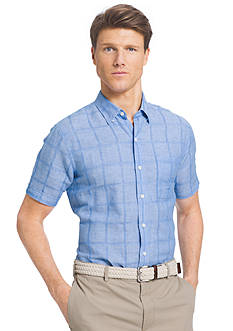 IZOD Big & Tall Short Sleeve Windowpane Print Woven Shirt
