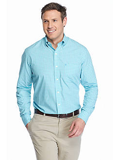 IZOD Big & Tall Long Sleeve Hampton Poplin Plaid Shirt