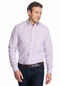 IZOD Big & Tall Long Sleeve Hampton Poplin Plaid Shirt