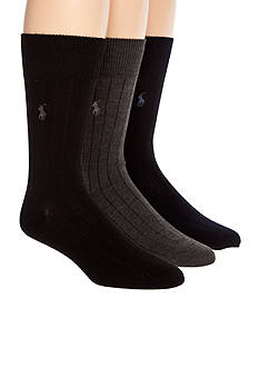 Polo Ralph Lauren 3-Pack Ribbed Dress Crew Socks