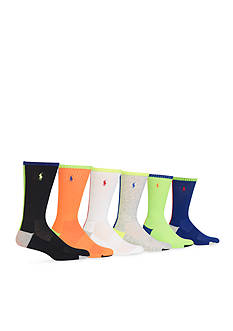 Polo Ralph Lauren Colorblock Athletic Crew Socks - 6 Pack