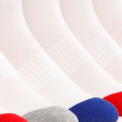 Mens Athletic Socks: White / Assorted Polo Ralph Lauren 6-Pack Technical Sport Quarter Crew Socks