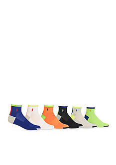 Polo Ralph Lauren Color Block Athletic Quarter Socks - 6 Pack