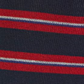 Designer Socks for Men: Navy Polo Ralph Lauren Mercerized Graph Stripe Crew Socks - Single Pair