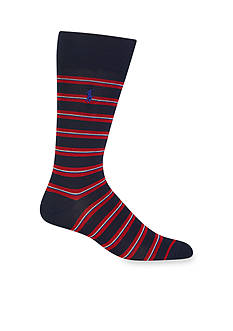 Polo Ralph Lauren Mercerized Graph Stripe Crew Socks - Single Pair