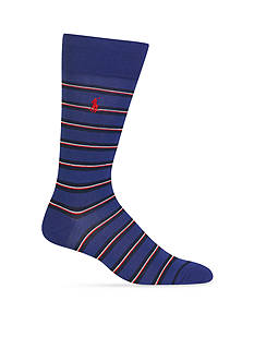 Polo Ralph Lauren Mercerized Graph Stripe Crew Socks - Single Pair