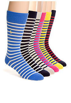 Polo Ralph Lauren French Stripe Cotton Socks- Single Pair