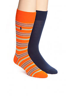 Polo Ralph Lauren Multi-Stripe and Solid Crew Socks - 2 Pack