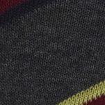 Mens Casual Socks: Charcoal Heather Polo Ralph Lauren Diagonal Stripe Crew Socks - 2 Pack