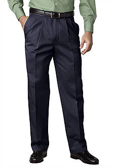 Haggar Wear-to-Work Navy Pleated Twill Pant