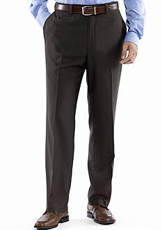 Haggar eCLo™ Stria Classic Fit, Flat Front, Expandable Waist Dress Pants