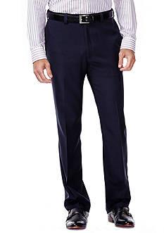 Haggar eCLo™ Stria Classic Fit, Flat Front, Expandable Waist Dress Pants
