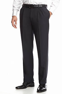 Haggar eCLo™ Stria Classic Fit, Pleated, Hidden Expandable Waist Dress Pants