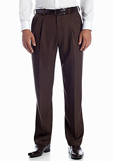 Haggar Textured Stria Classic-Fit Pleated Non-Iron Pants