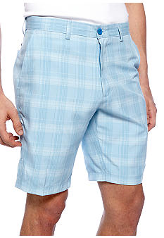 Haggar Cool 18 Tonal Plaid Flat Front Shorts