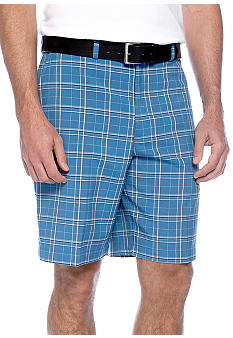 Haggar Cool 18 Microfiber Plaid Plain Front Shorts