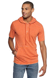 Red Camel Short Sleeve Burn Out Hooded Tee