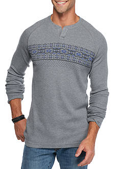 Red Camel Fairisle Chest Thermal T-Shirt