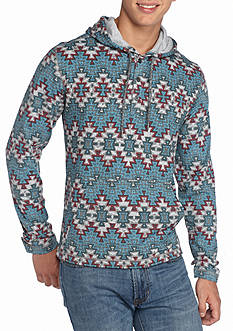 Red Camel Aztec Button Placket Hoodie