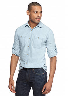Red Camel Chambray 2-Pocket Woven Shirt