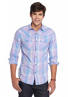 Red Camel Plaid Western Poplin Shirt