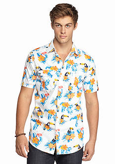 Red Camel Short Sleeve Toucan Print Woven Shirt