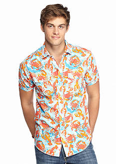 Red Camel Short Sleeve Crabster Print Woven Shirt