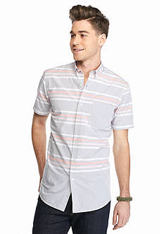 Red Camel Short Sleeve Striped Button Shirt
