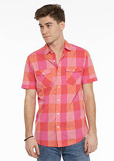 Red Camel Short Sleeve Ombre Plaid Woven Shirt