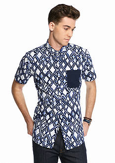 Red Camel Short Sleeve Chain Geometric Button-Down Shirt