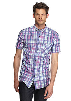 Red Camel Short Sleeve Watercolor Plaid Shirt