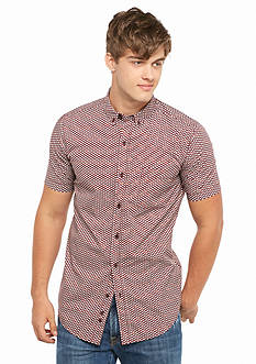 Red Camel Short Sleeve Circle Geo Woven Shirt