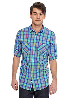 Red Camel Long Sleeve Two Pocket Plaid Shirt