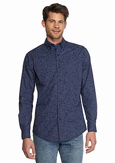 Red Camel Long Sleeve Paisley Single Pocket Shirt