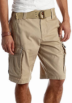 Red Camel Solid Ripstop Belted Cargo Shorts