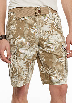 Red Camel Tropical Ripstop Belted Cargo Shorts