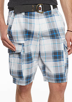 Red Camel Open Plaid Ripstop Belted Cargo Shorts