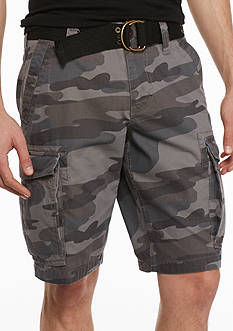 Red Camel Camo Ripstop Belted Cargo Shorts