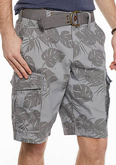 Red Camel Tonal Leaf Ripstop Belted Cargo Shorts