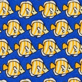 Young Mens Neckties: Yellow Tommy Hilfiger Fish Print Tie