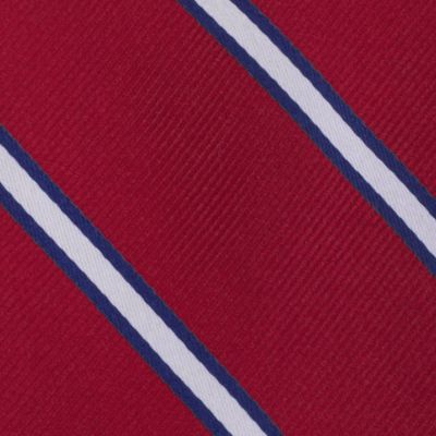Young Men: Tommy Hilfiger Accessories: Red Tommy Hilfiger Silk Stripe Tie