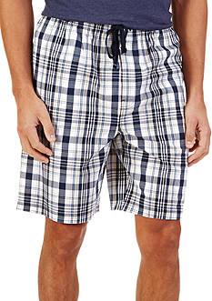 Nautica White and Navy Plaid Lounge Shorts