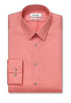 Calvin Klein Slim Fit Non-Iron Textured Solid Dress Shirt