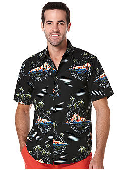 Cubavera Retro Tropical Print Woven Shirt