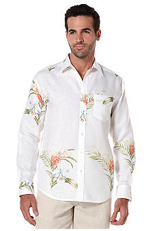 Cubavera Linen Floral Long Sleeve Shirt