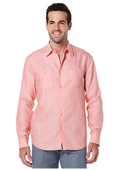Cubavera Solid Linen Long Sleeve Shirt