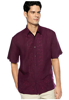 Cubavera L Shaped Embroidered Shirt