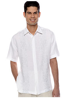 Cubavera Embroidered Panel Print Shirt