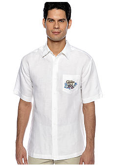 Cubavera Tropical Print Embroidered Shirt