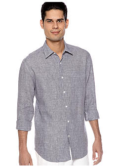 Cubavera Linen Gingham Plaid Shirt